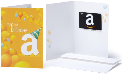 Amazon.com $25 Gift Card in a Greeting Card (Birthday Balloons Design)
