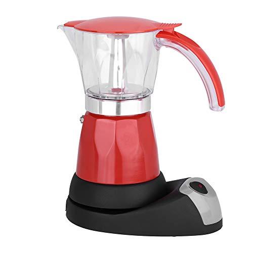 Elektrisch koffiezetapparaat, 300 ml / 6 kopjes verwijderbare espresso mokka kookplaat voor thuisgebruik in de keuken (rood)