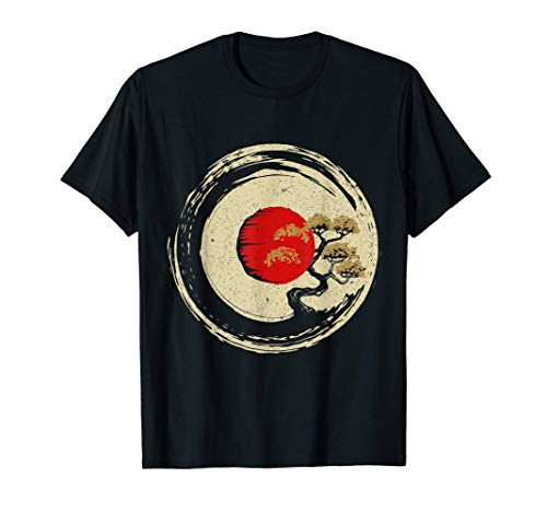 Bonsai Tree In Japanese Zen Buddhist Enso Circle T-Shirt