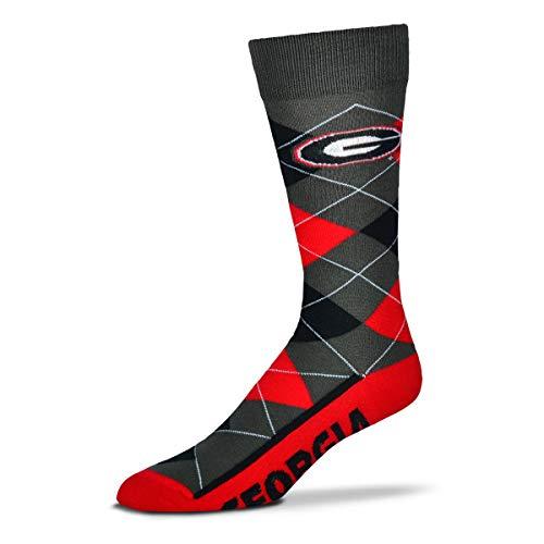 For Bare Feet Mens Zoom NCAA Argyle Dress Socks-Georgia Bulldogs-Large