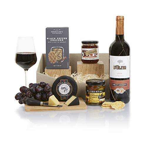 Classic Red Wine and Cheese Hamper, Luxury Food and Wine Gift Hampers, Ideal for a Birthday, Thank You or Corporate Gifts