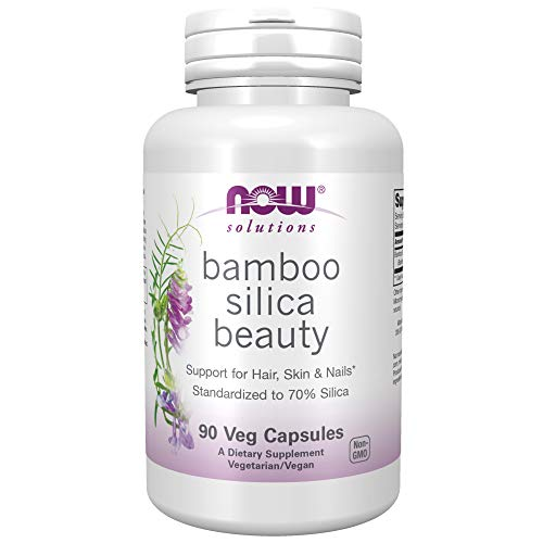 NOW Solutions, Bamboo Silica Beauty, Support for Hair, Skin & Nails, Standardized to 70% Silica, 90 Veg Capsules
