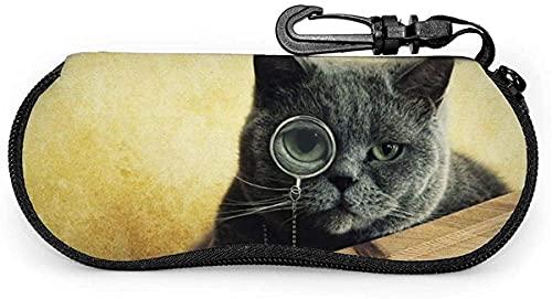 Tcerlcir Estuche para gafas Gato negro con gafas-Lindo perro Pitbull Estuche suave para gafas de sol Estuche para gafas para mujeres y hombres, 17x8cm