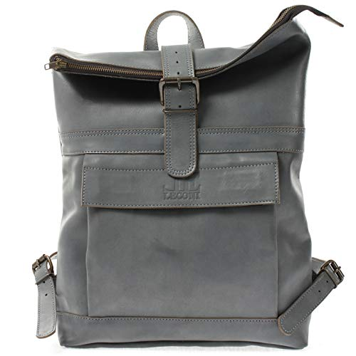 LECONI Medium Roll-Top Backpack Natural Buffalo Leather Hiking Backpack Leather Backpack Leisure Backpack DIN A4 School Women and Men 34 x 48 x 14 cm LE1025 Grey Grey Blue - Vintage