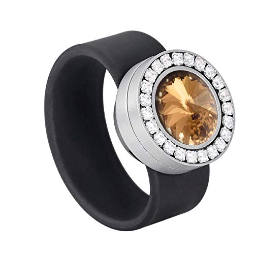 Heideman Ring Damen Colori schwarz aus Edelstahl Silber farbend und schwarz Damenring für Frauen mit Swarovski Stein Kristall Bernstein braun