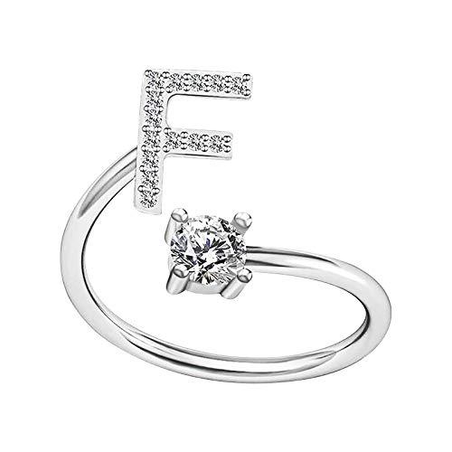 Moent Anillos de plata para mujer elegantes del alfabeto pareja amigos apertura anillo ajustable anillo de joyería para letras creativas anillos de aniversario de boda (F)