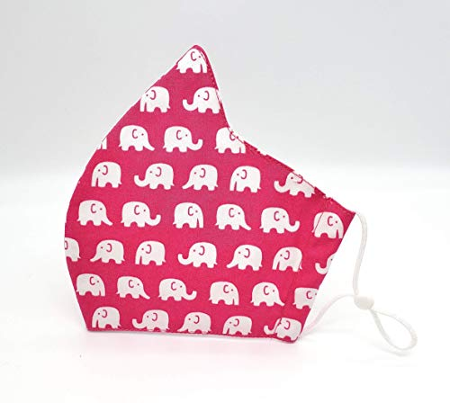Pink Elephant Print Adult Cotton (3 Layers) Face Mask With Filter Pocket (NO Nose Wire) / Dust Mask/Reusable Washable Mask