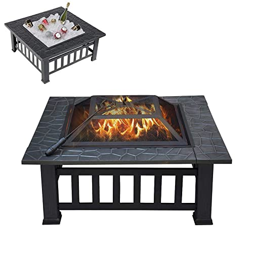 32in Outdoor Fire Pits Multifunctional Fire Pit Table Portable Fire Pit Wood Burning Fire Pit Square Metal Bonfire Pit With Spark Screen And Poker For Camping, Outdoor Heating, Bonfire And Picnic