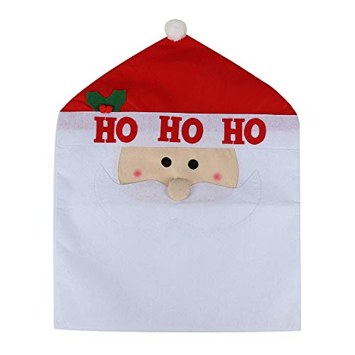 Christmas Decor Kitchen Chair Slip Covers Red Santa Claus Kitchen Dining Chair Slipcovers Sets for Christmas Holiday Party Festive Decorations Festival Halloween (A)