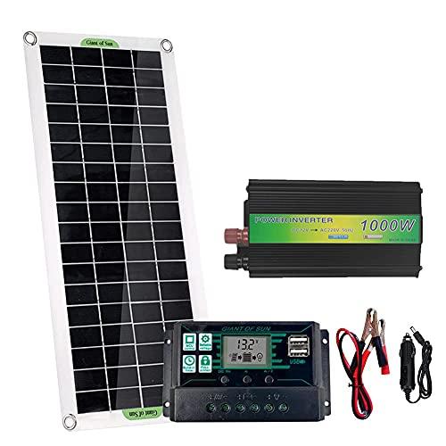 PEALOV Paneles Solares Mono, Panel Solar De 20 W + Inversor Solar De 1000 W + Controlador Solar Autoadaptable De 100 A + Cargador De Coche Para Exteriores/Hogar/Aparatos De CA(BateríA No Incluida)