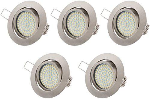 Ultra Flach LED Einbaustrahler Tolles Design Kaltweiß 3.5W 230V Schwenkbar Einbauspots (Kaltweiss), 5er Pack