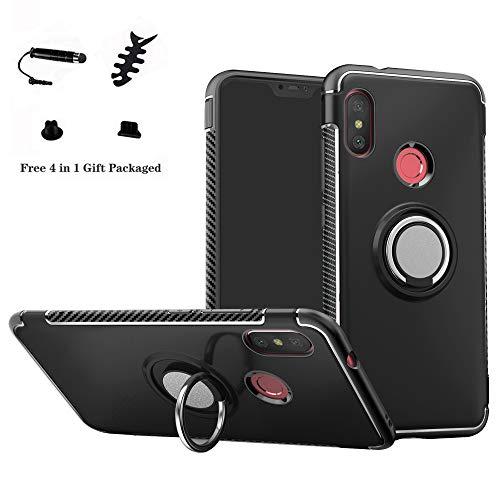 LFDZ Xiaomi Mi A2 Lite avec Anneau Kickstand Coque, [Téléphone Stand Titulaire/Support Bague] Coques Cover pour Xiaomi Mi A2 Lite/Xiaomi Redmi 6 Pro(Not fit Mi A2),Noir