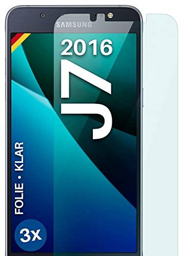 moex Klare Schutzfolie kompatibel mit Samsung Galaxy J7 (2016) - Bildschirmfolie kristallklar, HD Bildschirmschutz, dünne Kratzfeste Folie, 3X Stück