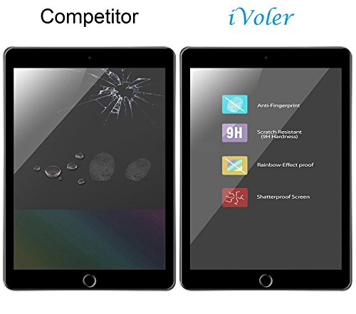 ivoler [2 Stück] Panzerglas Schutzfolie für iPad Pro 12.9 Zoll 2015/2017, 9H Härte, Anti- Kratzer, Bläschenfrei, 2.5D Runde Kante
