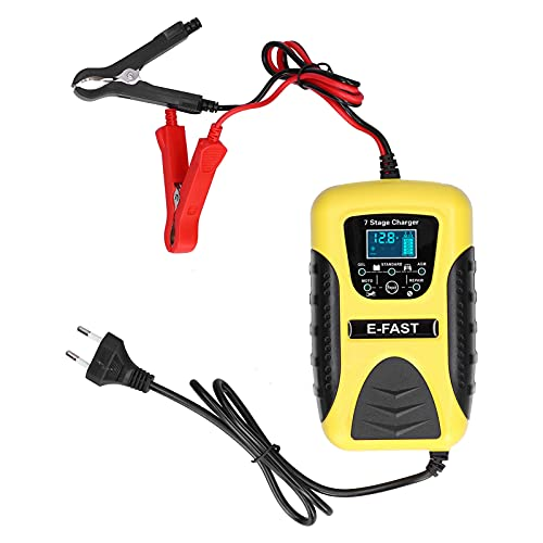 Qiilu Cargador de batería automático, Cargador de batería automático de 7 etapas, 12 V, 7 A, Pantalla LCD, función de reparación de Pulso para cortadora de césped de Coche, Motocicleta, UE 100-240 V