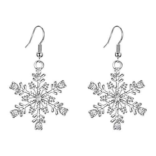 EVER FAITH Silver-Tone Austrian Crystal Winter Party Snowflake Pierced Hook Dangle Earrings Clear