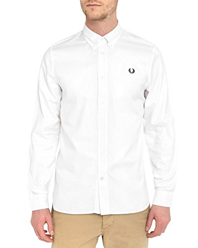 Fred Perry FP Classic Twill Shirt Camicia, White, XXL Uomo