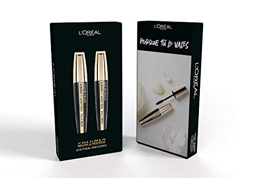 L'Oreal Paris Make-up Designer Volume Millon Lashes Extra Black Máscara Volumen Pack 2