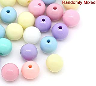 600 Pastel Acrylic Beads Round Assorted Pastel Colors 8mm or 3/8 Inch Diameter with 1.6mm Hole