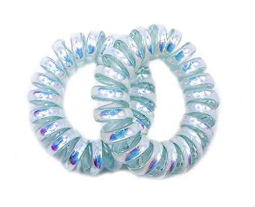 Paire de 2 petits élastiques à cheveux métalliques brillants en forme de cordons de téléphone - Bleu aqua