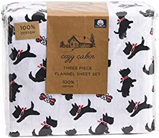 COZY CABIN Scotty Scottie Dogs Christmas Holiday Flannel Sheet Set - Full Size (All Cotton Flannel) red Bow