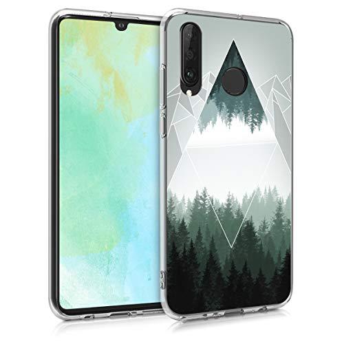 kwmobile Hülle kompatibel mit Huawei P30 Lite - Handyhülle - Handy Hülle Wald Gebirge Dreiecke Grün Weiß Grau