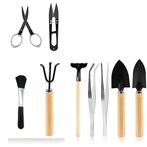 SODIAL 9 PièCes SéRies Outils pour Bonsai Jardinage Kits D'Outils, Outil de Plantation pour Succulent Cactus Secateurs Rateau Pelles Taille