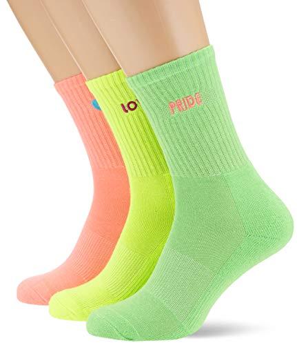Urban Classics Unisex Pride Pack 3-Pack Socken, Neonyellow/neonpink/Neongreen, 39-42