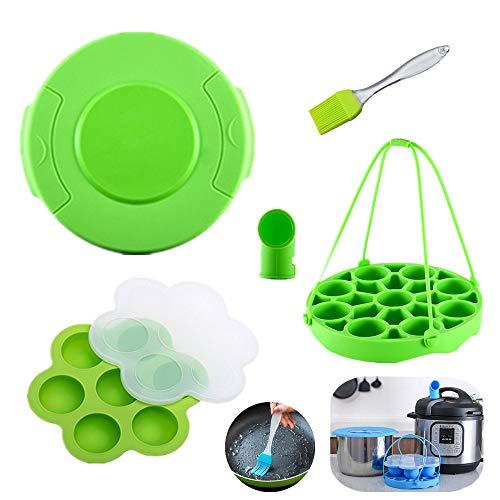 KeepingcooX Schnellkochtopf-Zubehör-Set, kompatibel mit Instant-Topf, passend für Ninja Foodi 6,8 qt – Topfdeckel, Dampfkorb-Einsatz mit Schlaufe, Dampfumleiter, Eierbeißformen, Bürste