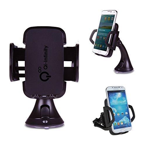 Qi-Infinity Wireless Car Charger Dock for Qi Enabled Phones/Tablets Like Nexus 5, Nexus 4, Nokia Lumia 920, Lumia 1020, Lumia 720, Lumia 820, HTC 8X, MOTO Droid Mini, HTC, Blackberry, Samsung, Google