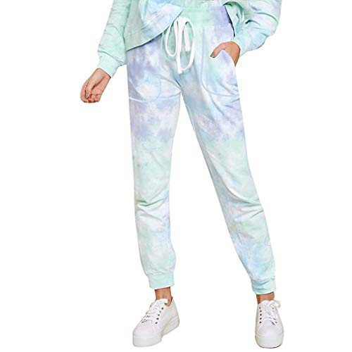 WGNNAA Frauen Jogginghose Yoga Hosen Laufhose Tie-Dye Leopardenmuster mit Taschen Elastische Taille Sommerhosen Bequem Lose Schlafanzughose Pyjamahosen Soft Nachtwäsche Hose