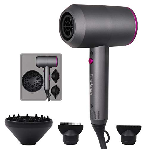 DigHealth Hair Dryer 1800W, Ionic Blow Dryer with Powerful AC Motor, Ceramic Technology, 3 Speeds Include One Cold Settings, Contain 2 Nozzles and 1 Diffuser