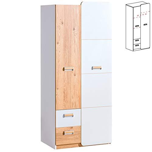 Furniture24 Kleiderschrank LORENTO L1 Drehtürenschrank Kleiderstange 2 Türiger Schrank mit 2 Schubladen (Briliant Weiß/Nash Eiche)