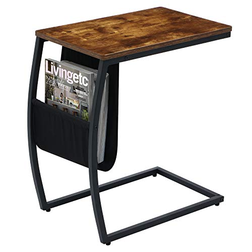 KINGSO C Table Sofa Side End Tables Living Room Couch Table with Storage Pocket Snack Table Small Spaces Side Table for Coffee Laptop Steel Frame Wood Look TV Tray Table for Eating