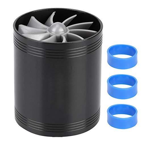 Akozon Turbocompressore, presa d'aria per auto Doppia ventola Caricabatterie per turbina Risparmio carburante Caricabatterie turbo(Nero)