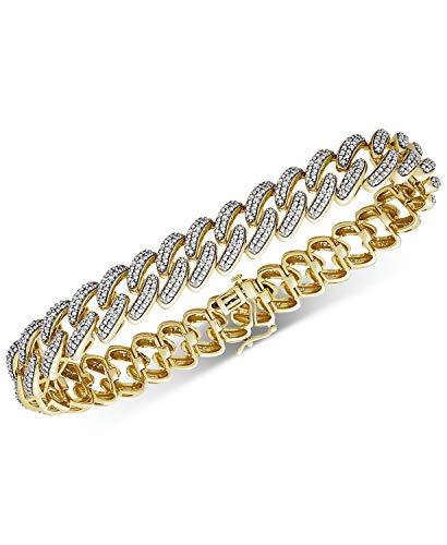 4.15Ctw ronde gesneden gesimuleerde Diamond Link mannen Tennis armband 14K geel goud afwerking
