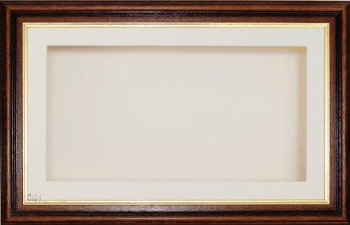 BabyRice Anika-Baby écran 17,8 x 33 cm/33 x 17,8 cm Boîte en Bois Cadre en Bois d'acajou Bordure dorée Effet avec Carte Passe-Partout crème et Carte de Dos, façade en Verre 36,8 x 21,6 cm