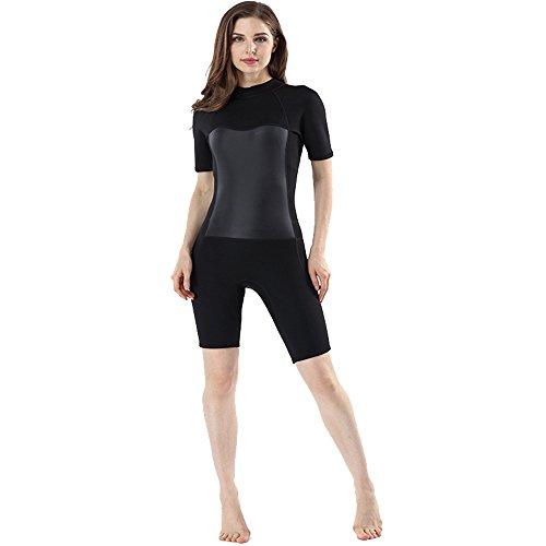 Neoprenanzug für Damen Frauen 2MM Wetsuit Neopren Kurzarm-Shorts Tauchanzug Neoprenanzug Wasserdicht Warm Wetsuit Geeignet für Tiefsee-Abenteuer-Sport Wassersport Surfen Tauchen ( Color : Black )