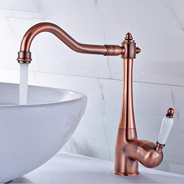 MMBFBS Europische High-End Kupfer Bad Waschbecken Wasserhahn 360° Drehbar Waschtischarmatur Gebürstet heies und kaltes Becken Wasserhahn,rotBronzeFaucet