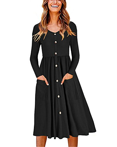 OUGES Women's Long Sleeve V Neck Button Down Midi Skater Dress with Pockets(Black,S)
