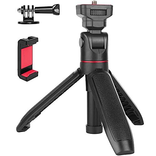 ミニ三脚 コンパクト Vlog専用雲台 360度や180度回転可 自撮り棒 長さ17.5-29.5㎝ スマホ 三脚 小型 カメラ iPhone GoPro webカメラに対応 卓上三脚 スマホホルダー付 携帯 DJI Osmo Pocket 2 SonyZV-1など適用