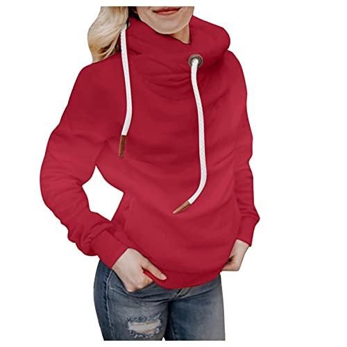 Dasongff Sudadera con capucha para mujer con degradado de color, cálida, cuello alto, manga larga, color de...