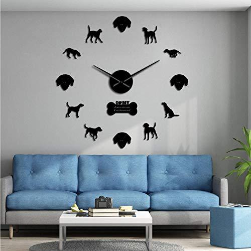 ZYZYY 47Inch-3Dfoxhound Silhouette Diy stille muur klok hond ras Foxhound lijm frameloze kit muurstickers grote muur horloge-zwart