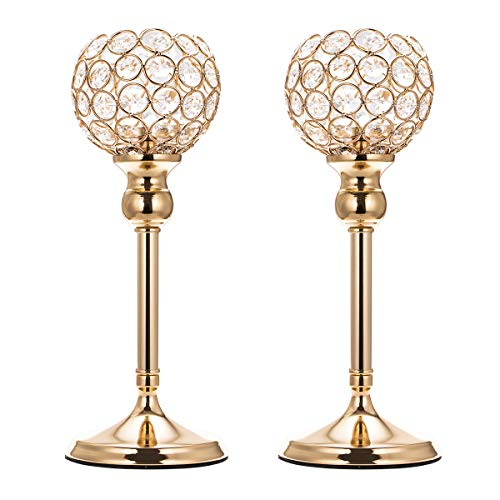 ManChDa Valentines Gift Set of 2 Gold Crystal Bowl Candle Holder for Dining Room Flange Decorative Centerpieces Modern House Decor Gifts for Anniversary Celebration (Small, 11.8