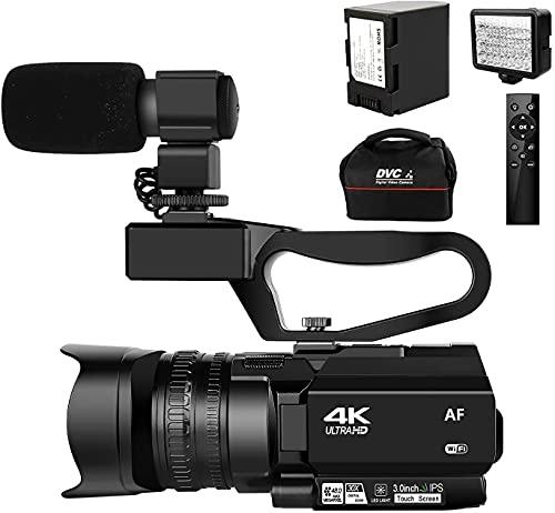 Videocámara 4K con enfoque automático, 48 MP, 60 FPS, 30X, zoom digital, cámara de Vlogging con luz LED con batería de 4500 mAh, estabilizador de mano y capota, micrófono y tarjeta SD de 64 G