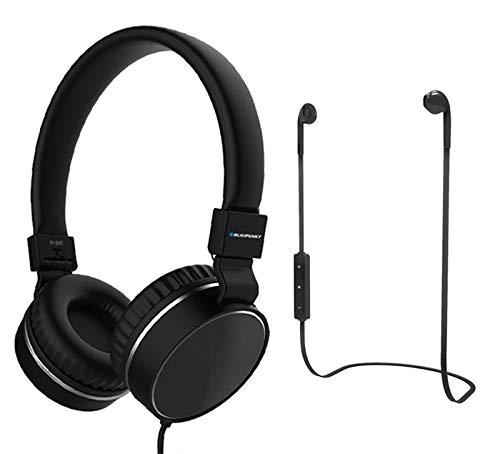 BLAUPUNKT MP1530-133 Set mit kabelgebundenen Kopfhörern und kabellosen Kopfhörern, Bluetooth, Schwarz