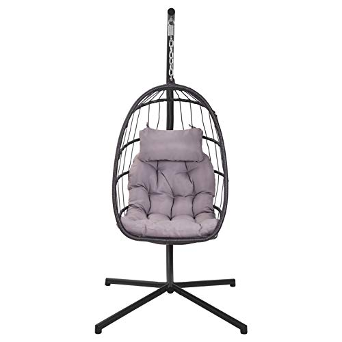 FLSOAY Modern Hanging Chair Indoor Outdoor Large Capacity Hanging Hammock Rocker Chair with Cushion Hanging Rocker Chair Grey