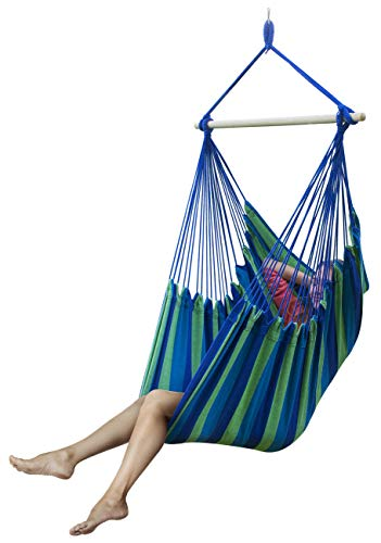 Sorbus Large Brazilian Hammock Chair -Extra Long Bed Swing Seat-Quality Cotton for Superior Comfort & Durability-Hanging Chair for Yard, Bedroom, Porch or Any Indoor and Outdoor Spaces (Blue & Green)