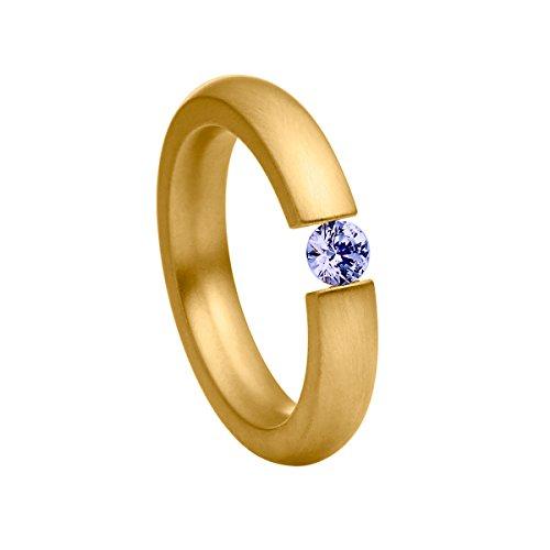 Heideman Ring Damen Spannring schmal aus Edelstahl Gold farbend matt Damenring für Frauen mit Swarovski Stein Zirkonia lila im Brillant Schliff 4mm