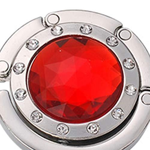royalr Round Foldable Handbag Hook Folding Bag Hanger Table Desk Portable Crystal Purse Holder for Table Desk - Red